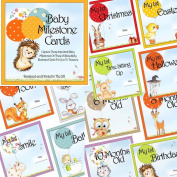 Baby Milestone Cards & Keepsake Box 28 Cute Illustrated landmark moments Photo Cards Ideal for Baby Shower Gift or New Baby Gift