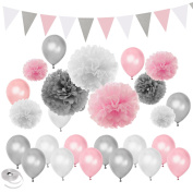 Pink Silver White Themed Baby Shower Party Decorations Wedding Birthday Supplies—Balloons Paper Pom Poms and Triangle Banners