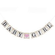 WEIYI Creative Baby Shower Bunting Banners Party Decoration (BABY GIRL Sign)