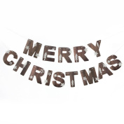 Merry Christmas Banner Glitter Stars Trees Holiday Garland for Christmas Decoration Party Props Nature Colour SUNBEAUTY