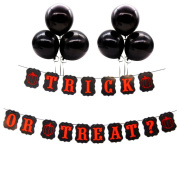 Halloween Trick or Treat Bunting Banner Kraft Card Garland with Black Latex Balloons for Halloween Party Decoration Photo Prop