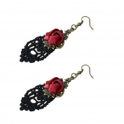 Yazilind Retro Style Lace Dangle Red Rose Flower Earring Stylish Jewellery For Women Gift Idea