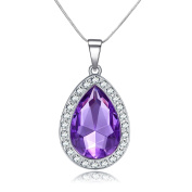 Vcmart Amulet Purple Crystal Teardrop Necklace Fashion Jewellery Gift for Girls
