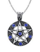 Vnox Stainless Steel Blue Crystal Pentagram of Family Star Pendant Necklace for Men Women Wiccan Jewellery