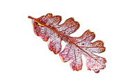 Real Oak leaf iridescent copper brooch