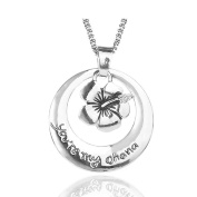 """*UK* Silver-Tone """"You're My Ohana"""" Engraved Pendant Necklace 2.5cm Diamater With 18 Inch Chain Lilo And Stitch Flower Means Family"""