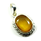 55Carat Natural Genuine Yellow Sapphire Pendant 5 Carat Oval 92.5 Sterling Silver Necklaces