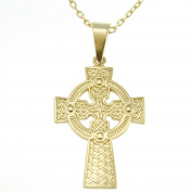 9ct Gold Celtic Cross with 46cm Chain & Jewellery Presentation Box