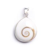 81stgeneration Women's .925 Sterling Silver Shiva Eye Shell Teardrop Pendant Necklace, 46 cm
