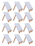 MEEDEN Mini Canvas & Easel Set of 12 PCS, 10cm by 10cm Small Canvas Panels with 7.6cm by 13cm Tiny Wood Easel for Painting Craft Drawing Decoration Gift