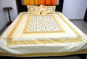 Indian Exclusive Art Silk Double Bed Sheet With 2 Pillow & 2 Cushion Cover Find Embroidery Work Size:- (Inche)230cm x 270cm (Bed sheet) Pillow 41cm x 70cm Cushion 41cm x 41cm