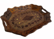 Wooden Hand Made Carved Tray Carved Jali Brass Ftd Size:- (Inche)16x11.2x2