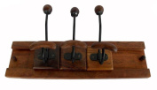 Indian Handmade Decorative Wooden Sliding 3 Hook Size:- (Inche)12x6x6