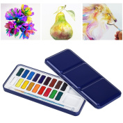 ULTNICE Watercolour Set Solid Paint Palette Tin Metal Box with Artistic Paintbrush