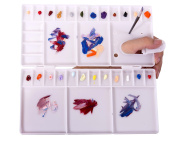 Nafast Plastic large Folding Paint Tray Palettes with 33 Mixing Wells and Oil Paint with 1 Paint Brush