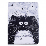 iPad Air 2 Case , Billionn® Lovely Cartoon Patterns Premium PU Leather Flip Cover Shell Wallet Slim Stand Protective Cover for Apple iPad Air 2 , Black and white cat