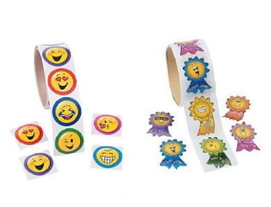 Novelty Treasures Emoji & Motivational Smiley Face Stickers (200 Stickers) Birthday Party Supplies, School Arts & Crafts, Daycare Activity
