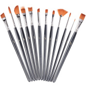 Xubox Paint Brush, Set of 12 Professional Round Pointed Tip Nylon Hair Artist Acrylic Brush Watercolour Oil Painting