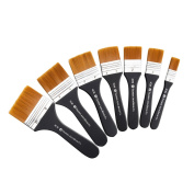 Lightwish Set of 7 Flat Paint Brushes for Applying Gesso, Acrylic paint, Oil paint, Watercolour