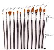 12 PCS Professional Paint Brush Set Nylon Hair Watercolour/Craft/Face Paints