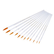 Art Paint Brushes Set, Wartoon 12pcs Assorted Sizes Nylon Artists Specialist Crafts Flat Paint Brushes for Art Acrylic Oil Painting Modelling, White