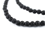 TheBeadChest 4mm Black Lava Gemstone Beads Round 8mm Crystal Energy Stone Healing Power for Jewellery Making, 15 Inch Strand