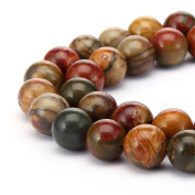 jennysun2010 Natural Picasso Jasper Gemstone 6mm Smooth Round Loose 60pcs Beads 1 Strand for Bracelet Necklace Earrings Jewellery Making Crafts Design Healing