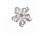WEIYI Shining Rhinestone Artificial Pearl Flower Brooch Pins for Women