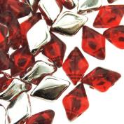 Czech Glass GemDuo Beads, 2-Hole Diamond Shaped Beads 5x8mm, 10 Grammes, Backlit Ruby Red