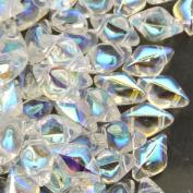 Czech Glass GemDuo Beads, 2-Hole Diamond Shaped Beads 5x8mm, 10 Grammes, Crystal AB