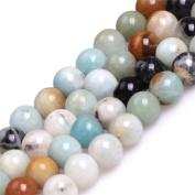 "Round Mixed Colour Amazonite Stone Big Large Hole Beads for Jewellery Making 15"""