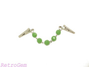 RetroGem 10mm Opaque Green Faceted Glass Bead Silver Tone Sweater Clip Sweater Guard Collar Clip