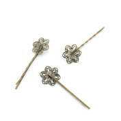 Price per 5 Pieces Jewellery Making Supply Charms Findings Filigrees S1ZS7N Flower Hairpin Hairclip Hair Clip Antique Bronze Findings Beading Craft Supplies Bulk Lots