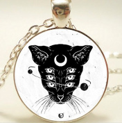 Occult Wiccan Cat Sigil Moon Pendant, Necklace, Women Jewellery
