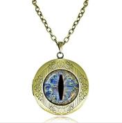 dragon eye locket necklace, charm memory locket necklace, cat eye necklace