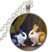 Brown and white rabbit art painting necklace ,glass cabochon pendant,necklace for pet lover