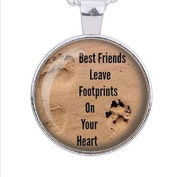 Dog Lovers Necklace, Best Friends Necklace, Footprints, Love, Heart, Dog Paw Prints Image Pendant Handmade