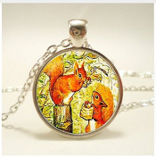 Squirrel art Pendant. jewellery. Birthday gift, glass Cabochon Pendant,Christmas Gift