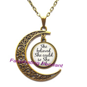 New Moon Necklace,She believed she could, so she did pendant, inspiration jewellery inspirational pendant, empowerment jewellery, quote necklace,AE0135