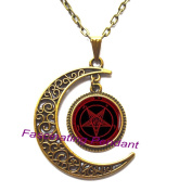 New Moon Necklace,Pentagram Pendant, Fire Pentagram Necklace, Pentacle Necklace, Pentagram jewellery, Occult Satan Wiccan Necklace, men's necklace,AE0127