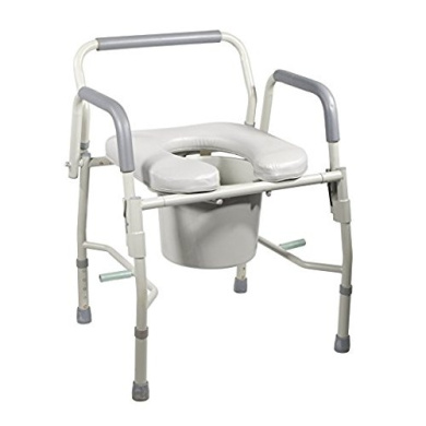 Commode Bedside Drop Arm with Arms and Padded Seat