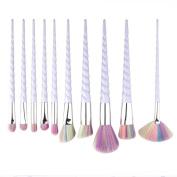 10 Pcs Professional Makeup Brush Set Unicorn Rainbow Diamond Face & Eye Powder Foundation Eyebrow Make Up Brush Kit