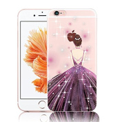 Bling Case For iPhone SE,Vandot Flexible Soft TPU Gel Cover Dark Purple HD Printing Pattern Crystal Clear Back Case with [Drop Protection/Shock Absorption Technology] Practical Exact Fit Bumper Protective Case For iPhone SE 5S 5-Dress Girl