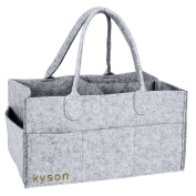 Kyson Nappy Caddy Nursery Storage Bin Felt Basket Nappies Organiser Baby Wipes Bag , Changeable Compartments, Grey