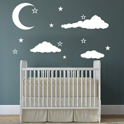 Cloud Wall Decal Clouds Decals Moon and Stars Cloudy Sky Baby Room Wall Decal Children Gift Bedroom Nursery Boy Girl Vinyl Stickers Wall Decor Playroom Murals