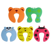 QHGstore Baby Foam Door Stopper Safety Tool 5pcs Colourful Carton Animal Cushion Safety Finger Protector for Baby Kids Adult Decorative Holder Lock Door Stopper Finger Pinch Guard Set Home Office Use