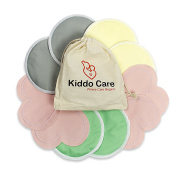 Kiddo Care Washable Organic Bamboo Nursing Pads -10 PACK Coloured (5 pairs)- Reusable Breast Pads,Bra pads, Leakproof, Ultra soft, Waterproof, Hypoallergenic breastfeeding pads, absorbent pads!