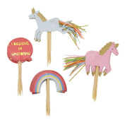 YNuth Set of 24pcs I Believe in Unicorn Cupcake Toppers Cake Topper Decorations