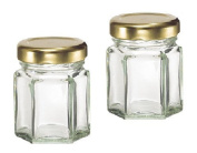 Hexagon Glass Candle Jars with Gold Lid