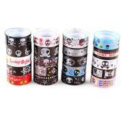 HuifengS 20 Rolls Skull Washi Tape Waterproof Washi Masking Sticky Adhesive DIY Tape for School Class Office Birthday Notebook Arts & Crafts Gift Tape